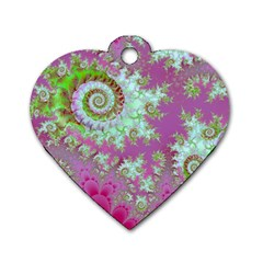 Raspberry Lime Surprise, Abstract Sea Garden  Dog Tag Heart (two Sided) by DianeClancy