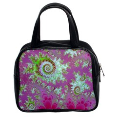 Raspberry Lime Surprise, Abstract Sea Garden  Classic Handbag (two Sides) by DianeClancy