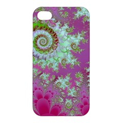 Raspberry Lime Surprise, Abstract Sea Garden  Apple Iphone 4/4s Premium Hardshell Case by DianeClancy