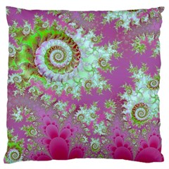 Raspberry Lime Surprise, Abstract Sea Garden  Large Cushion Case (two Sided)  by DianeClancy