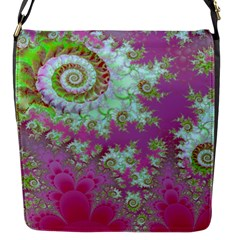 Raspberry Lime Surprise, Abstract Sea Garden  Flap Closure Messenger Bag (small) by DianeClancy