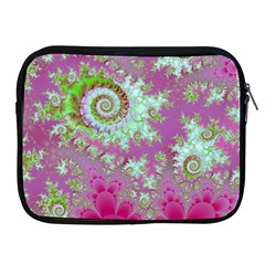 Raspberry Lime Surprise, Abstract Sea Garden  Apple Ipad Zippered Sleeve by DianeClancy