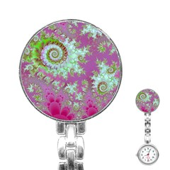 Raspberry Lime Surprise, Abstract Sea Garden  Stainless Steel Nurses Watch by DianeClancy
