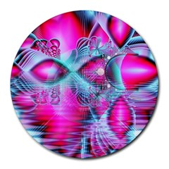 Ruby Red Crystal Palace, Abstract Jewels 8  Mouse Pad (round)