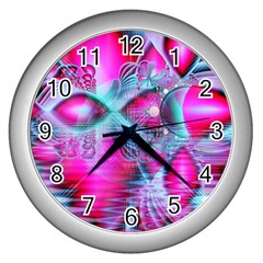 Ruby Red Crystal Palace, Abstract Jewels Wall Clock (silver) by DianeClancy