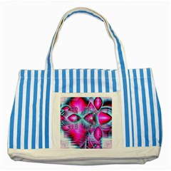 Ruby Red Crystal Palace, Abstract Jewels Blue Striped Tote Bag by DianeClancy