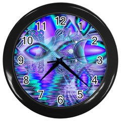 Peacock Crystal Palace Of Dreams, Abstract Wall Clock (black) by DianeClancy