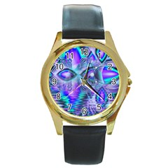 Peacock Crystal Palace Of Dreams, Abstract Round Leather Watch (gold Rim)  by DianeClancy