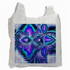 Peacock Crystal Palace Of Dreams, Abstract White Reusable Bag (one Side) by DianeClancy