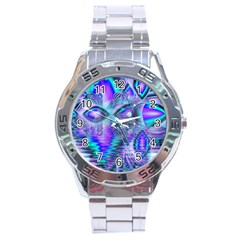 Peacock Crystal Palace Of Dreams, Abstract Stainless Steel Watch by DianeClancy