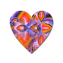 Crystal Star Dance, Abstract Purple Orange Magnet (heart) by DianeClancy