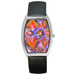 Crystal Star Dance, Abstract Purple Orange Tonneau Leather Watch by DianeClancy