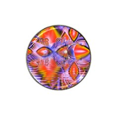 Crystal Star Dance, Abstract Purple Orange Golf Ball Marker (for Hat Clip) by DianeClancy
