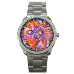 Crystal Star Dance, Abstract Purple Orange Sport Metal Watch by DianeClancy