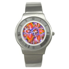 Crystal Star Dance, Abstract Purple Orange Stainless Steel Watch (slim) by DianeClancy