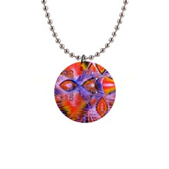 Crystal Star Dance, Abstract Purple Orange Button Necklace by DianeClancy