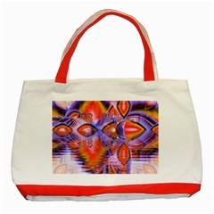 Crystal Star Dance, Abstract Purple Orange Classic Tote Bag (red) by DianeClancy