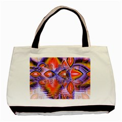 Crystal Star Dance, Abstract Purple Orange Twin Sided Black Tote Bag by DianeClancy