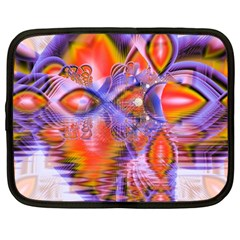 Crystal Star Dance, Abstract Purple Orange Netbook Sleeve (large) by DianeClancy