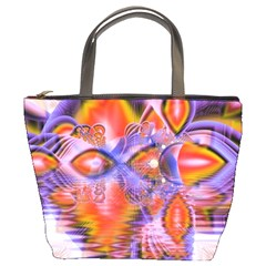 Crystal Star Dance, Abstract Purple Orange Bucket Handbag by DianeClancy