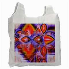 Crystal Star Dance, Abstract Purple Orange White Reusable Bag (two Sides)