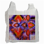 Crystal Star Dance, Abstract Purple Orange White Reusable Bag (Two Sides) Front