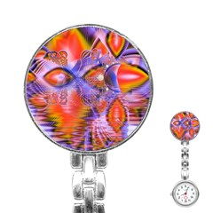 Crystal Star Dance, Abstract Purple Orange Stainless Steel Nurses Watch by DianeClancy