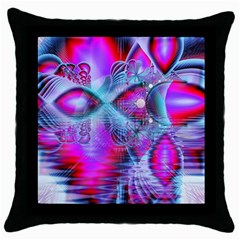 Crystal Northern Lights Palace, Abstract Ice  Black Throw Pillow Case by DianeClancy