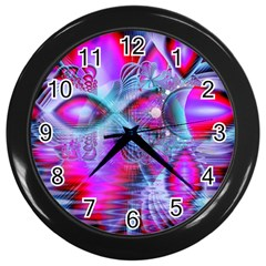 Crystal Northern Lights Palace, Abstract Ice  Wall Clock (black) by DianeClancy