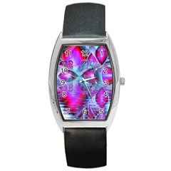 Crystal Northern Lights Palace, Abstract Ice  Tonneau Leather Watch by DianeClancy