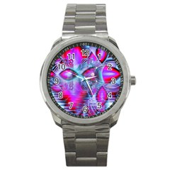 Crystal Northern Lights Palace, Abstract Ice  Sport Metal Watch by DianeClancy