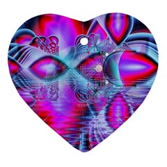 Crystal Northern Lights Palace, Abstract Ice  Heart Ornament (two Sides) by DianeClancy