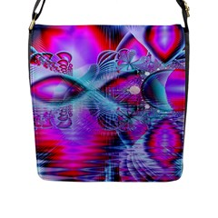 Crystal Northern Lights Palace, Abstract Ice  Flap Closure Messenger Bag (large) by DianeClancy