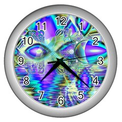 Abstract Peacock Celebration, Golden Violet Teal Wall Clock (silver) by DianeClancy