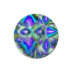 Abstract Peacock Celebration, Golden Violet Teal Drink Coaster (round) by DianeClancy