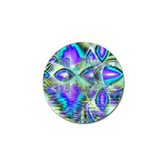 Abstract Peacock Celebration, Golden Violet Teal Golf Ball Marker by DianeClancy