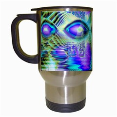 Abstract Peacock Celebration, Golden Violet Teal Travel Mug (white) by DianeClancy