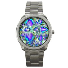 Abstract Peacock Celebration, Golden Violet Teal Sport Metal Watch by DianeClancy