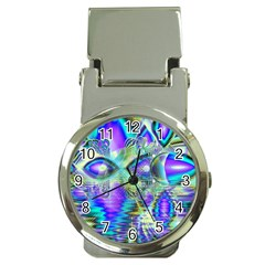 Abstract Peacock Celebration, Golden Violet Teal Money Clip With Watch