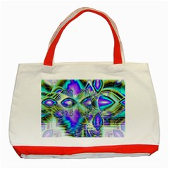 Abstract Peacock Celebration, Golden Violet Teal Classic Tote Bag (red) by DianeClancy