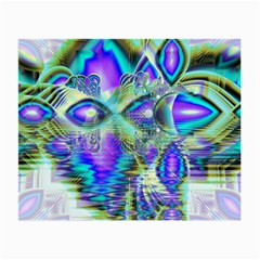 Abstract Peacock Celebration, Golden Violet Teal Glasses Cloth (small, Two Sided)