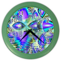 Abstract Peacock Celebration, Golden Violet Teal Wall Clock (color) by DianeClancy