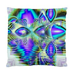 Abstract Peacock Celebration, Golden Violet Teal Cushion Case (two Sided)  by DianeClancy
