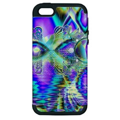 Abstract Peacock Celebration, Golden Violet Teal Apple Iphone 5 Hardshell Case (pc+silicone) by DianeClancy