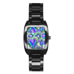 Abstract Peacock Celebration, Golden Violet Teal Stainless Steel Barrel Watch by DianeClancy