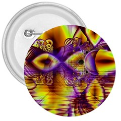 Golden Violet Crystal Palace, Abstract Cosmic Explosion 3  Button by DianeClancy