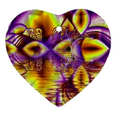 Golden Violet Crystal Palace, Abstract Cosmic Explosion Heart Ornament by DianeClancy