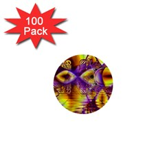 Golden Violet Crystal Palace, Abstract Cosmic Explosion 1  Mini Button (100 Pack)