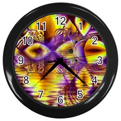 Golden Violet Crystal Palace, Abstract Cosmic Explosion Wall Clock (black) by DianeClancy