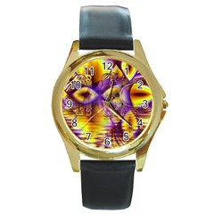 Golden Violet Crystal Palace, Abstract Cosmic Explosion Round Leather Watch (gold Rim)
